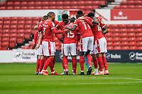 3rd October 2020; City Ground, Nottinghamshire, Midlands, England; English Football League Championship Football, Nottingham Forest versus Bristol City; Nottingham Forest huddle before kick-off