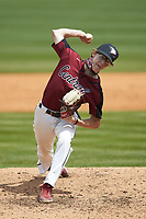 North Carolina Central Eagles relief pitcher Gavyn Byrd (5) in action against the North Carolina A&T Aggies at Durham Athletic Park on April 10, 2021 in Durham, North Carolina. (Brian Westerholt/Four Seam Images)