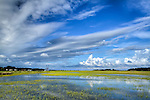South Carolina Lowcountry sunset dock marsh grass scene HDR colorful sky and clouds