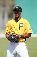 Pittsburgh Pirates infielder Luis Urena #82 during practice before an Instructional League game against the Philadelphia Phillies at Pirate City on October 11, 2011 in Bradenton, Florida.  (Mike Janes/Four Seam Images)