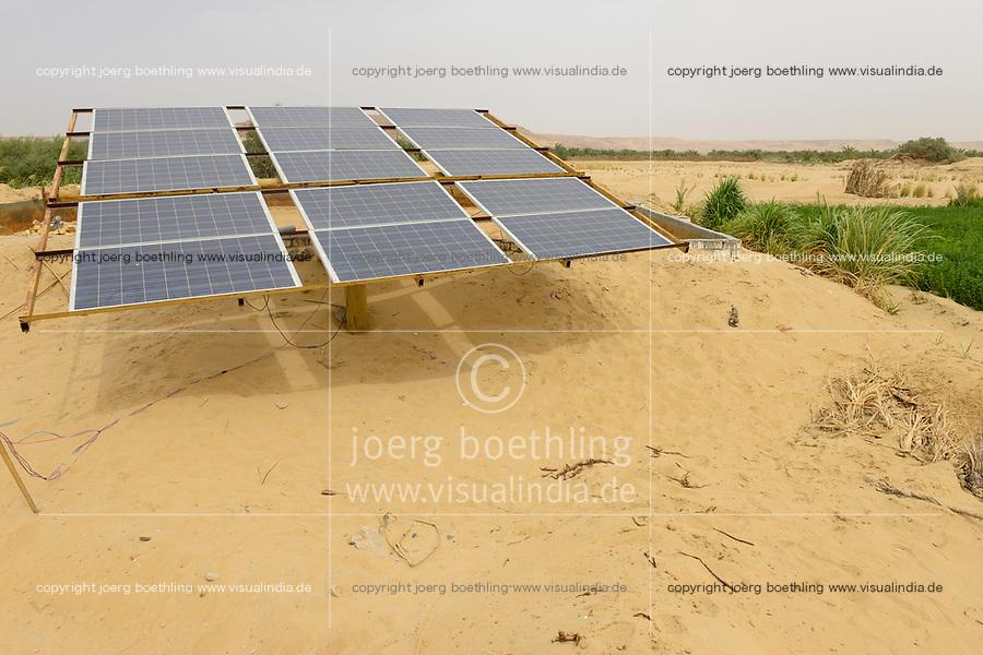 EGYPT, oasis El-Wahat el-Bahariya, desert farming with solar powered pump, field of small scale farmer / AEGYPTEN, Oase Bahariyya, Solar betriebene Pumpe zur Bewaessung eines Feldes eines Kleinbauern