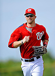 25 February 2012: Washington Nationals' outfielder Bryce Harper trots back to the infield during the first full squad Spring Training workout at the Carl Barger Baseball Complex in Viera, Florida. Mandatory Credit: Ed Wolfstein Photo
