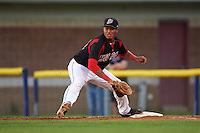 Batavia Muckdogs first baseman Erwin Almonte (25) stretches for a throw during a game against the Lowell Spinners on August 12, 2015 at Dwyer Stadium in Batavia, New York.  Batavia defeated Lowell 6-4.  (Mike Janes/Four Seam Images)