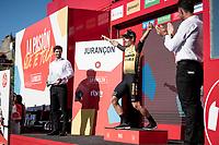(former) ski-jumper-salute by stage winner and new overall leader Primoz Roglic (SVK/Jumbo-Visma) on the podium<br /> <br /> stage 10 (ITT): Jurançon to Pau (36.2km > in FRANCE)<br /> La Vuelta 2019<br /> <br /> ©kramon