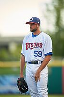 Buffalo Bisons pitcher Tim Mayza (59) in the bullpen during a game against the Syracuse Chiefs on July 3, 2017 at Coca-Cola Field in Buffalo, New York.  Buffalo defeated Syracuse 6-2.  (Mike Janes/Four Seam Images)