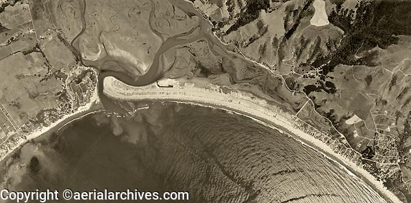 historical aerial photograph Bolinas and Stinson Beach, California, 1952