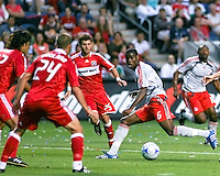 Toronto FC midfielder Maurice Edu (6) takes a shot at the Fire goal.  Chicago Fire defeated Toronto FC by the score of 2-1 at Toyota Park stadium, in Bridgeview, Illinois on Saturday, July 12, 2008.