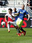 Nederland, Utrecht, 5 april 2015<br /> Eredivisie<br /> Seizoen 2014-2015<br /> FC Utrecht-Ajax (1-1)<br /> Yassin Ayoub van FC Utrecht en Kolbeinn Sigthorsson van Ajax strijden om de bal