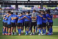 SAN JOSE, CA - JULY 24: The San Jose Earthquakes huddle before a game between Houston Dynamo and San Jose Earthquakes at PayPal Park on July 24, 2021 in San Jose, California.