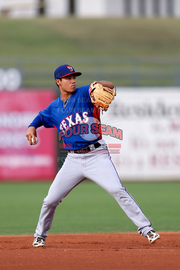 Isiah Kiner-Falefa #5 of the AZL Rangers before a game against the AZL Royals at Surprise Stadium on July 15, 2013 in Surprise, Arizona. AZL Rangers defeated the AZL Royals, 3-2. (Larry Goren/Four Seam Images)
