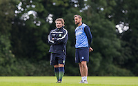 Manager Gareth Ainsworth chats to Paul Hayes during the Wycombe Wanderers 2016/17 Pre Season Training Session at Wycombe Training Ground, High Wycombe, England on 1 July 2016. Photo by Andy Rowland / PRiME Media Images.