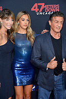 "LOS ANGELES, USA. August 14, 2019: Jennifer Flavin, Sistine Stallone & Sylvester Stallone at the premiere of ""47 Meters Down: Uncaged"" at the Regency Village Theatre.<br /> Picture: Paul Smith/Featureflash"