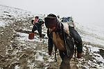 10/01/13 -- Shlake, Iraqi Kurdistan -- Iraq-Syria border. Syrian smugglers transport gallons full of petrol to Al-Malikiyah (Derik) Syria.The walk takes 4 hours from Iraq to Syria.