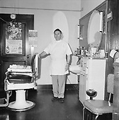 0501-01 Nick Gales, barber, 314 SW 9th Ave, Portland, Oregon. January 1952