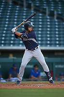 AZL Padres 1 Payton Smith (50) at bat during an Arizona League game against the AZL Cubs 1 on July 5, 2019 at Sloan Park in Mesa, Arizona. The AZL Cubs 1 defeated the AZL Padres 1 9-3. (Zachary Lucy/Four Seam Images)