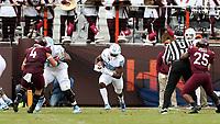 BLACKSBURG, VA - OCTOBER 19: Javonte Williams #25 of the University of North Carolina runs the ball during a game between North Carolina and Virginia Tech at Lane Stadium on October 19, 2019 in Blacksburg, Virginia.
