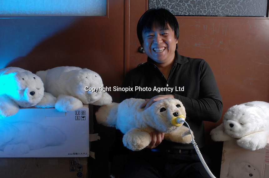 Takanori Shibata, Senior Research scientist, the inventor of the Paro, a robot that is designed to interact with humans. The robot is currently being tested at some old aged people's homes in Japan where they are being used to help the old people bond with the interactive animals.