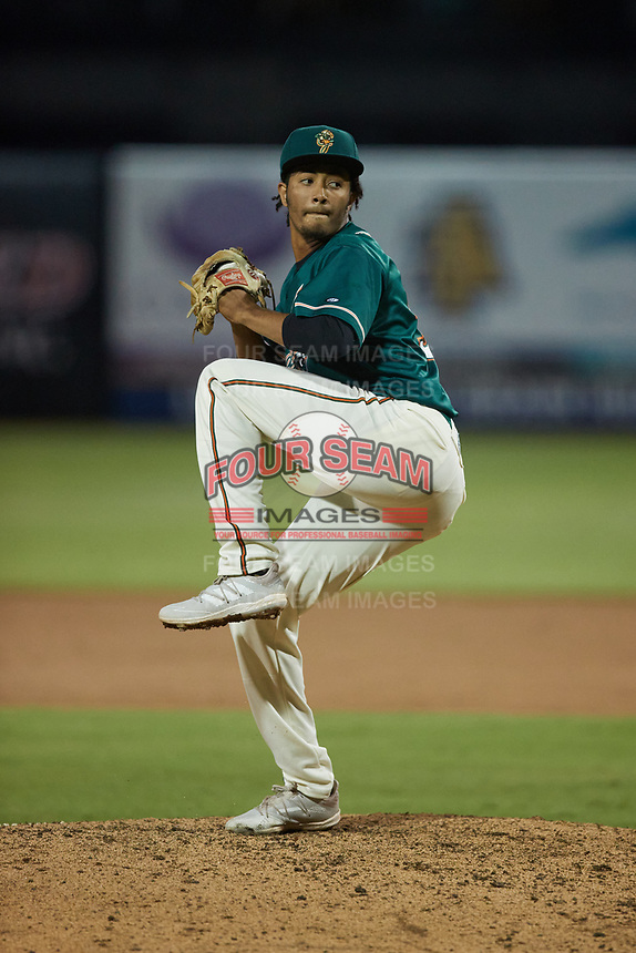 Greensboro Grasshoppers relief pitcher Oliver Garcia (37) in action against the Winston-Salem Dash at First National Bank Field on June 3, 2021 in Greensboro, North Carolina. (Brian Westerholt/Four Seam Images)