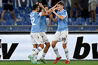 Toma Basic of SS Lazio (r) celebrates with Danilo Cataldi and Patric Gil after scoring the goal of 1-0 during the Europa League group stage football match between SS Lazio and Lokomotiv Moskva at Olimpico stadium in Rome (Italy), September 30th, 2021. Photo Antonietta Baldassarre / Insidefoto