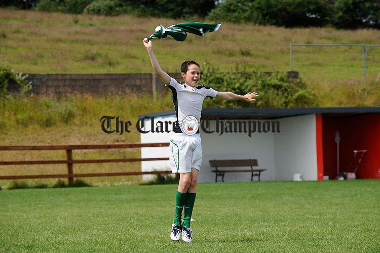 Rory Mc Evoy celebrates his goal during the FAI/NIB Summer Soccer School at Cassidy park, Ennis. Photograph by John Kelly.