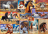 COLLAGEN, paintings+++++,KL16508,#collagen#,horses,mustangs, EVERYDAY ,collages,puzzles