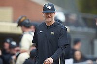 Wake Forest Demon Deacons head coach Tom Walter (16) during the game against the Notre Dame Fighting Irish at David F. Couch Ballpark on March 10, 2019 in  Winston-Salem, North Carolina. The Demon Deacons defeated the Fighting Irish 7-4 in game one of a double-header.  (Brian Westerholt/Four Seam Images)