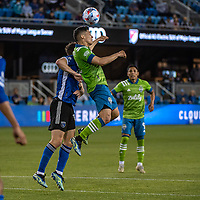 SAN JOSE, CA - MAY 12: Fredy Montero #12 of the Seattle Sounders heads the ball during a game between San Jose Earthquakes and Seattle Sounders FC at PayPal Park on May 12, 2021 in San Jose, California.