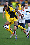 Southport v Luton. Blue Square Premier League at Haig Avenue Southport  21.1.12. Vinny Mukendi of South port in action.