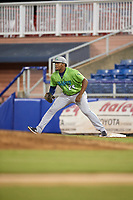 Lynchburg Hillcats first baseman Emmanuel Tapia (28) during a game against the Salem Red Sox on May 10, 2018 at Haley Toyota Field in Salem, Virginia.  Lynchburg defeated Salem 11-5.  (Mike Janes/Four Seam Images)