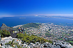 South Africa, Cape Town, view from Table Mountain at the city, Sea Point and Robben Island