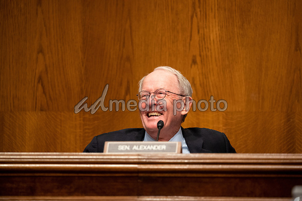 """United States Senator Lamar Alexander (Republican of Tennessee), chairman, US Senate Health, Education, Labor and Pensions Committee, reacts during the hearing titled """"COVID-19: Going Back to School Safely"""" on Capitol Hill in Washington, DC on Thursday, June 4, 2020.<br /> Credit: Ting Shen / CNP/AdMedia"""