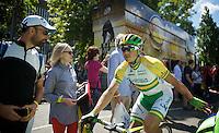 Simon Gerrans (AUS/Orica-GreenEDGE) to the start<br /> <br /> 2014 Tour de France<br /> stage 3: Camebridge-London (155km)