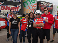 Mar. 17, 2013; Gainesville, FL, USA; Family and crew of NHRA pro stock motorcycle rider Hector Arana Jr after winning the Gatornationals at Auto-Plus Raceway at Gainesville. Mandatory Credit: Mark J. Rebilas-