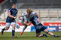 17th April 2021; AJ Bell Stadium, Salford, Lancashire, England; English Premiership Rugby, Sale Sharks versus Gloucester; Billy Twelvetrees of Gloucester Rugby is tackled by Cobus Weise of Sale Sharks