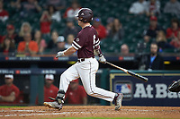 Tanner Allen (5) of the Mississippi State Bulldogs follows through on his swing against the Louisiana Ragin' Cajuns in game three of the 2018 Shriners Hospitals for Children College Classic at Minute Maid Park on March 2, 2018 in Houston, Texas.  The Bulldogs defeated the Ragin' Cajuns 3-1.   (Brian Westerholt/Four Seam Images)