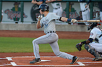 West Michigan Whitecaps infielder A.J. Simcox (16) at bat during game five of the Midwest League Championship Series against the Cedar Rapids Kernels on September 21st, 2015 at Perfect Game Field at Veterans Memorial Stadium in Cedar Rapids, Iowa.  West Michigan defeated Cedar Rapids 3-2 to win the Midwest League Championship. (Brad Krause/Four Seam Images)