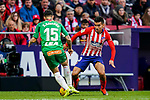 Angel Correa of Atletico de Madrid (R) tackles Joaqiun Navarro Jimenez, Ximo Navarro, of Deportivo Alaves during the La Liga 2018-19 match between Atletico de Madrid and Deportivo Alaves at Wanda Metropolitano on December 08 2018 in Madrid, Spain. Photo by Diego Souto / Power Sport Images