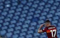Football, Serie A: AS Roma -  Udinese, Olympic stadium, Rome, February 14, 2021. <br /> Roma's Jordan Veretout celebrates after scoing his second goal in the match  during the Italian Serie A football match between Roma and Udinese at Rome's Olympic stadium, on February 14, 2021.  <br /> UPDATE IMAGES PRESS/Isabella Bonotto