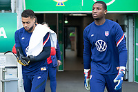 BELFAST, NORTHERN IRELAND - MARCH 28: Zack Steffen, Chituru Odunze of the United States during a game between Northern Ireland and USMNT at Windsor Park on March 28, 2021 in Belfast, Northern Ireland.
