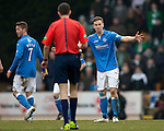St Johnstone v Celtic.....14.02.15<br /> Steven MacLean argues with ref Kevin Clancy<br /> Picture by Graeme Hart.<br /> Copyright Perthshire Picture Agency<br /> Tel: 01738 623350  Mobile: 07990 594431