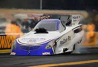 Oct. 2, 2011; Mohnton, PA, USA: NHRA funny car driver Leah Pruett during the Auto Plus Nationals at Maple Grove Raceway. Mandatory Credit: Mark J. Rebilas-
