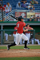 Batavia Muckdogs Andrew Turner (9) bats during a NY-Penn League game against the Williamsport Crosscutters on August 25, 2019 at Dwyer Stadium in Batavia, New York.  Williamsport defeated Batavia 10-3.  (Mike Janes/Four Seam Images)