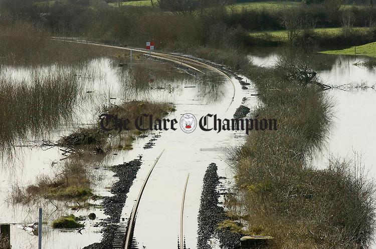 Ballycar railway floods.Pic Arthur Ellis.