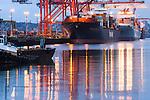 Container ships, Harbor Island, Seattle, Washington