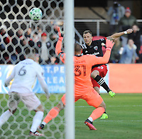 WASHINGTON, DC - MARCH 07: Frederic Brilliant #13 of D.C. United shoots the ball during a game between Inter Miami CF and D.C. United at Audi Field on March 07, 2020 in Washington, DC.