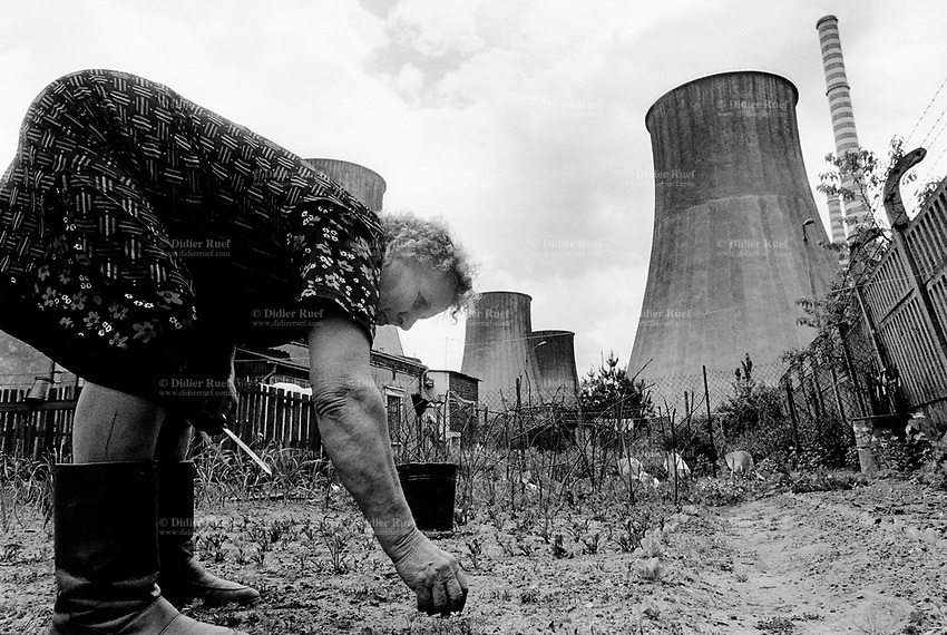 """Poland. Silesia. Bedzin. An old woman takes care of her vegetable garden. She stands near an electrical power plant which is ran by burning cokes. """" Electrownia Laciska"""" is the factory's name. Major polluted area due to heavy metals supended in the air. Bedzin is a small town, distant 20 km from Katowice. © 1991 Didier Ruef"""