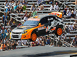 Bucky Lasek (81) driver of the Subaru Puma Rallycross car, in action during the Global Rally Cross race, the Hoon Kaboom, at Texas Motor Speedway in Fort Worth,Texas. Global Rally Cross driver Marcos Gronholm (3) wins the Hoon Kaboom race..