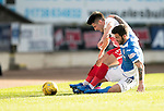 St Johnstone v Kilmarnock…25.02.17     SPFL    McDiarmid Park<br />Greg Taylor is tackled by Richie Foster<br />Picture by Graeme Hart.<br />Copyright Perthshire Picture Agency<br />Tel: 01738 623350  Mobile: 07990 594431