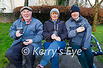 Enjoying a chat and a cuppa in the Tralee town park on Saturday, l to r: Eddie Fitzgerald, Fiona and Richard Dwyer.