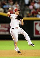 Sept. 21, 2010; Phoenix, AZ, USA; Arizona Diamondbacks shortstop Stephen Drew throws to first base for an out against the Colorado Rockies at Chase Field. Mandatory Credit: Mark J. Rebilas-